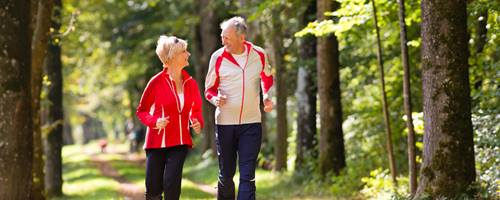 Older couple jogging in woods.