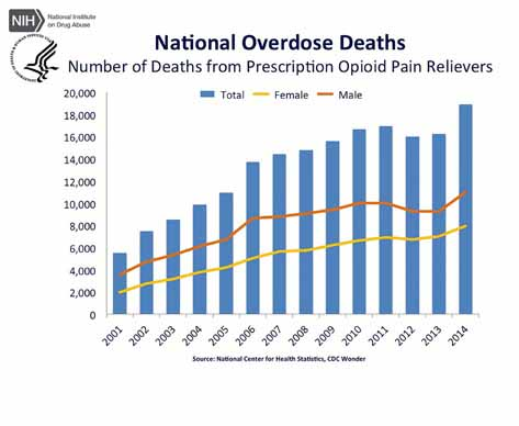 Graph displaying number of national deaths from prescription opioid pain relievers