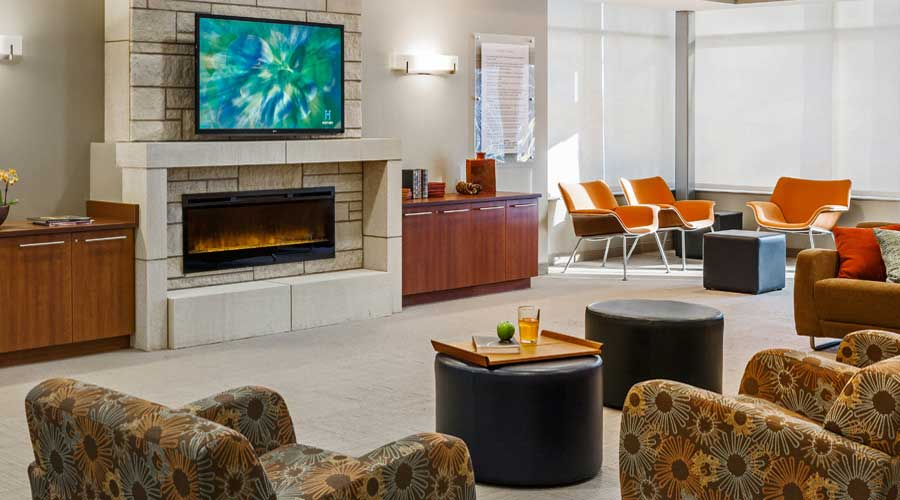 Patient lounge area at Hazelden in Plymouth.