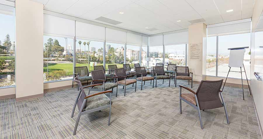 West Los Angeles addiction treatment center group room.